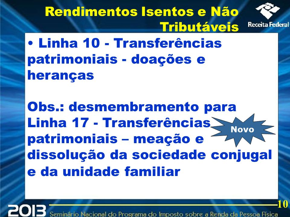 2013 Linha 10 - Transferências patrimoniais - doações e heranças