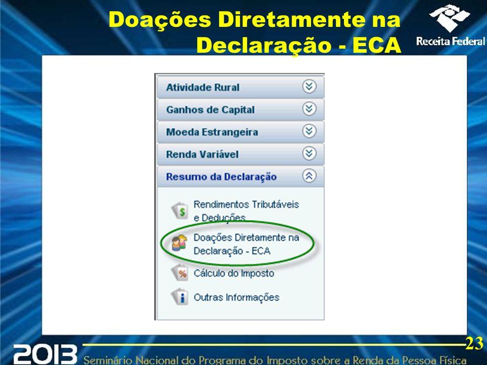 Doações Diretamente na Declaração - ECA