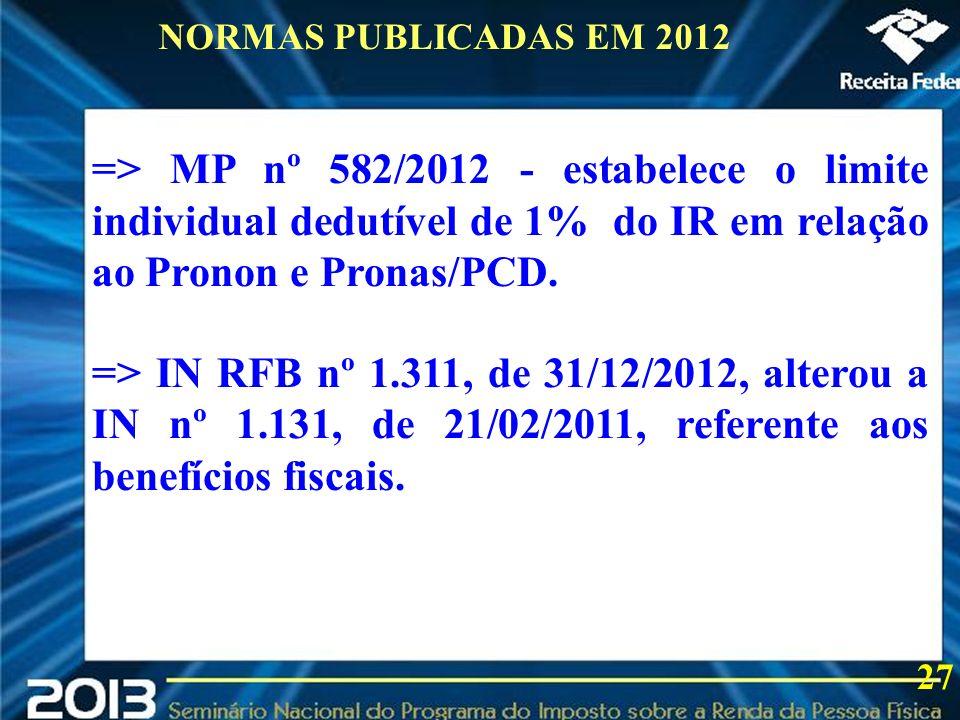 NORMAS PUBLICADAS EM 2012=> MP nº 582/2012 - estabelece o limite individual dedutível de 1% do IR em relação ao Pronon e Pronas/PCD.