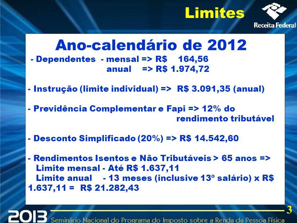 2013 Limites Ano-calendário de 2012 3