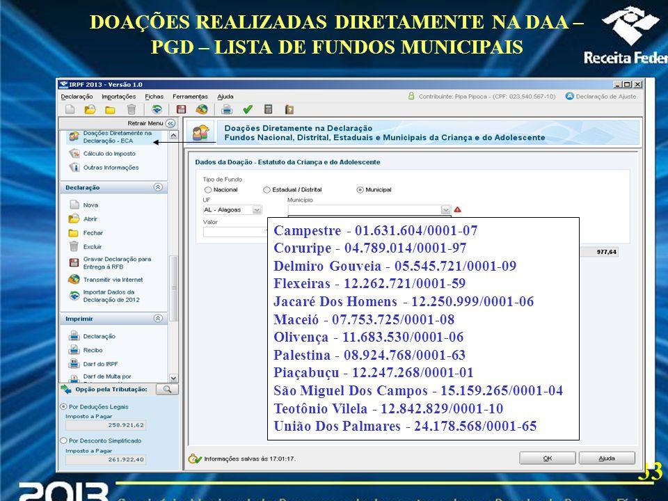 DOAÇÕES REALIZADAS DIRETAMENTE NA DAA – PGD – LISTA DE FUNDOS MUNICIPAIS