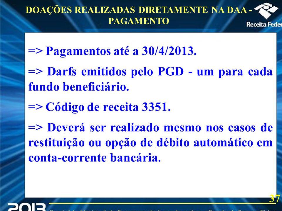 DOAÇÕES REALIZADAS DIRETAMENTE NA DAA - PAGAMENTO