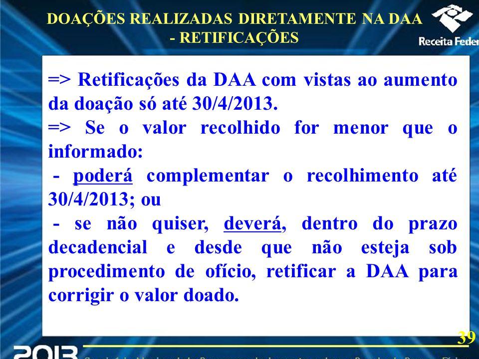 DOAÇÕES REALIZADAS DIRETAMENTE NA DAA - RETIFICAÇÕES