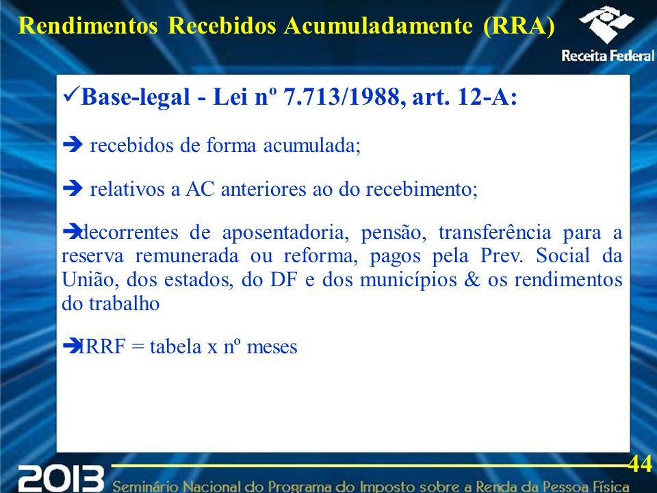 2013 Rendimentos Recebidos Acumuladamente (RRA)