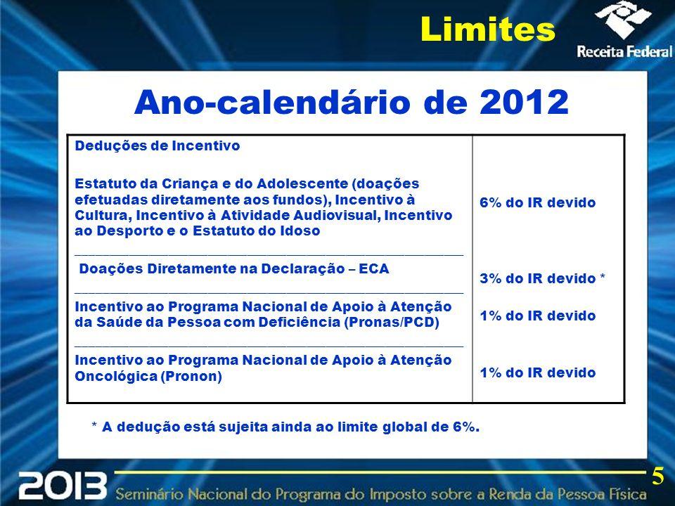2013 Limites Ano-calendário de 2012 5 Deduções de Incentivo