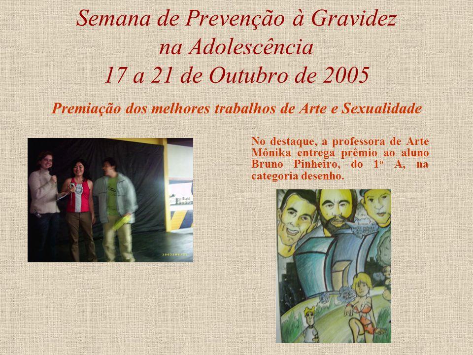 Semana de Prevenção à Gravidez na Adolescência 17 a 21 de Outubro de 2005 Premiação dos melhores trabalhos de Arte e Sexualidade