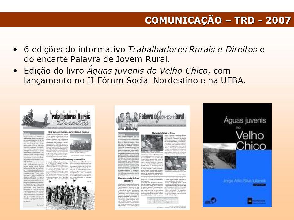 COMUNICAÇÃO – TRD - 2007 6 edições do informativo Trabalhadores Rurais e Direitos e do encarte Palavra de Jovem Rural.