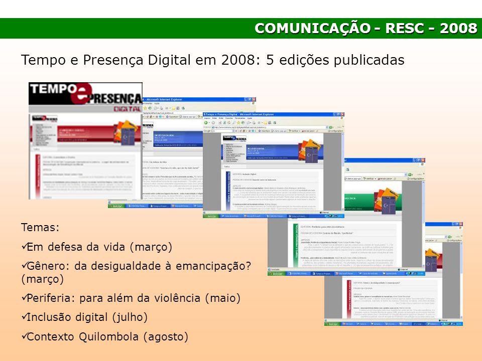 Tempo e Presença Digital em 2008: 5 edições publicadas