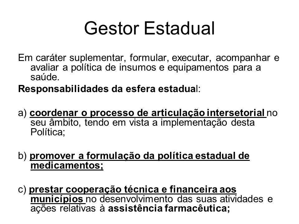 Gestor Estadual Em caráter suplementar, formular, executar, acompanhar e avaliar a política de insumos e equipamentos para a saúde.