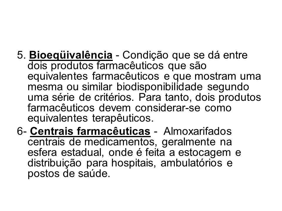 5. Bioeqüivalência - Condição que se dá entre dois produtos farmacêuticos que são equivalentes farmacêuticos e que mostram uma mesma ou similar biodisponibilidade segundo uma série de critérios. Para tanto, dois produtos farmacêuticos devem considerar-se como equivalentes terapêuticos.