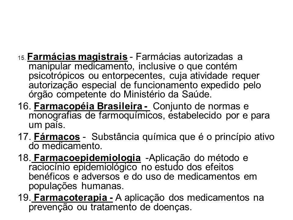 15. Farmácias magistrais - Farmácias autorizadas a manipular medicamento, inclusive o que contém psicotrópicos ou entorpecentes, cuja atividade requer autorização especial de funcionamento expedido pelo órgão competente do Ministério da Saúde.