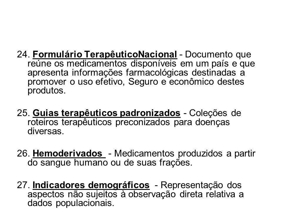 24. Formulário TerapêuticoNacional - Documento que reúne os medicamentos disponíveis em um país e que apresenta informações farmacológicas destinadas a promover o uso efetivo, Seguro e econômico destes produtos.