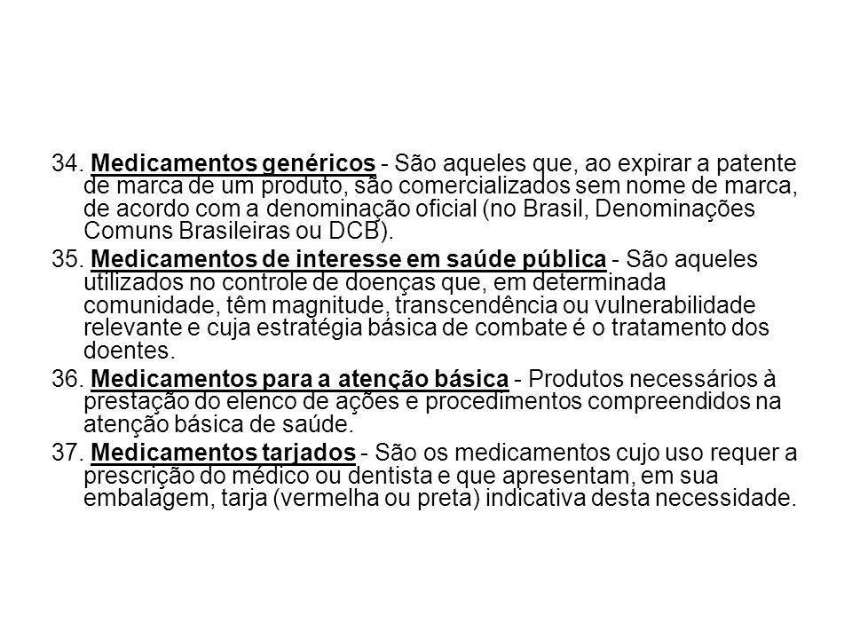 34. Medicamentos genéricos - São aqueles que, ao expirar a patente de marca de um produto, são comercializados sem nome de marca, de acordo com a denominação oficial (no Brasil, Denominações Comuns Brasileiras ou DCB).