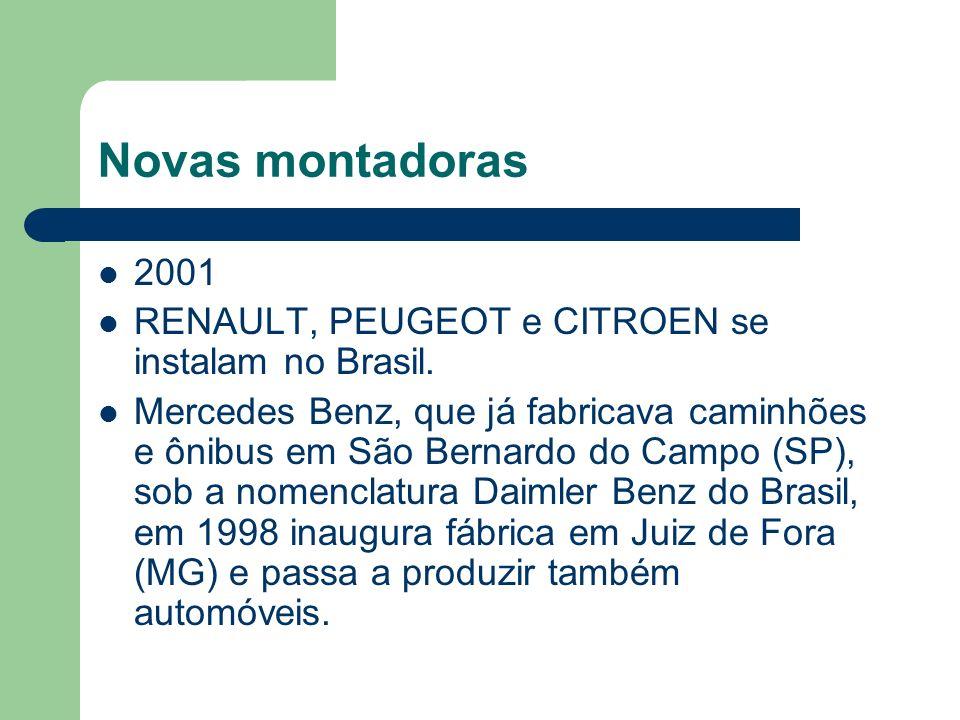 Novas montadoras 2001. RENAULT, PEUGEOT e CITROEN se instalam no Brasil.