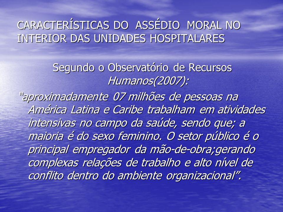 CARACTERÍSTICAS DO ASSÉDIO MORAL NO INTERIOR DAS UNIDADES HOSPITALARES