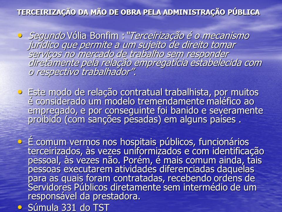 TERCEIRIZAÇÃO DA MÃO DE OBRA PELA ADMINISTRAÇÃO PÚBLICA