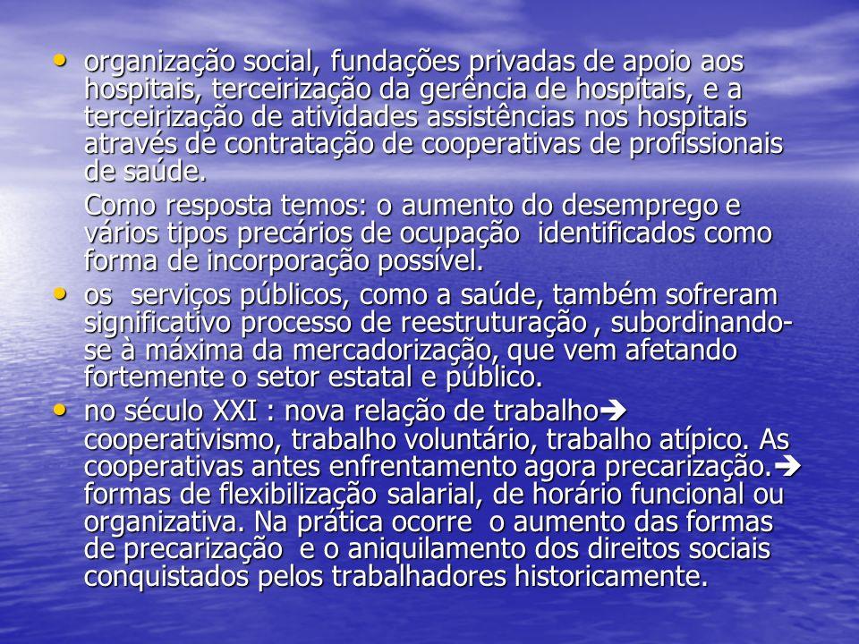 organização social, fundações privadas de apoio aos hospitais, terceirização da gerência de hospitais, e a terceirização de atividades assistências nos hospitais através de contratação de cooperativas de profissionais de saúde.