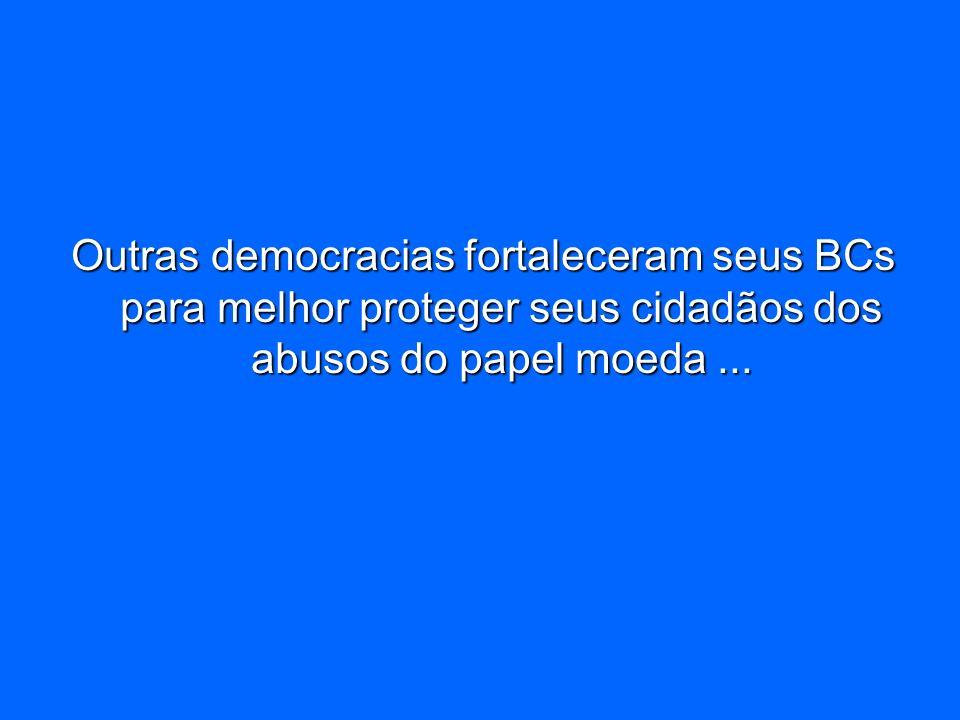 Outras democracias fortaleceram seus BCs para melhor proteger seus cidadãos dos abusos do papel moeda ...
