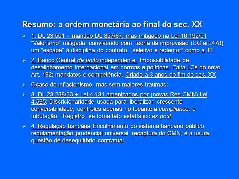 Resumo: a ordem monetária ao final do sec. XX
