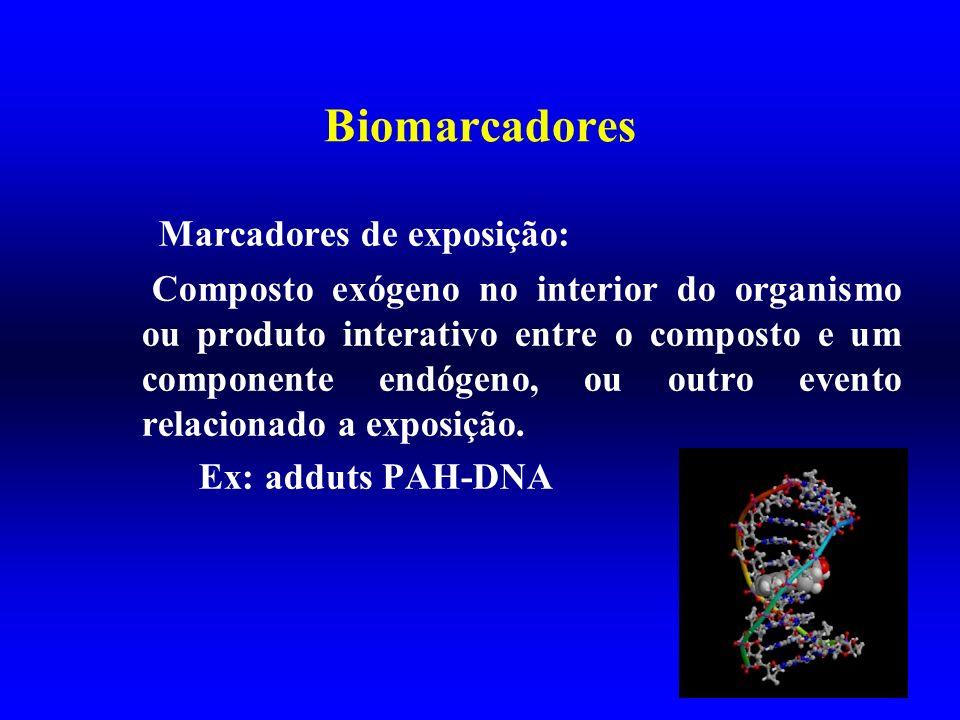 Biomarcadores Marcadores de exposição: