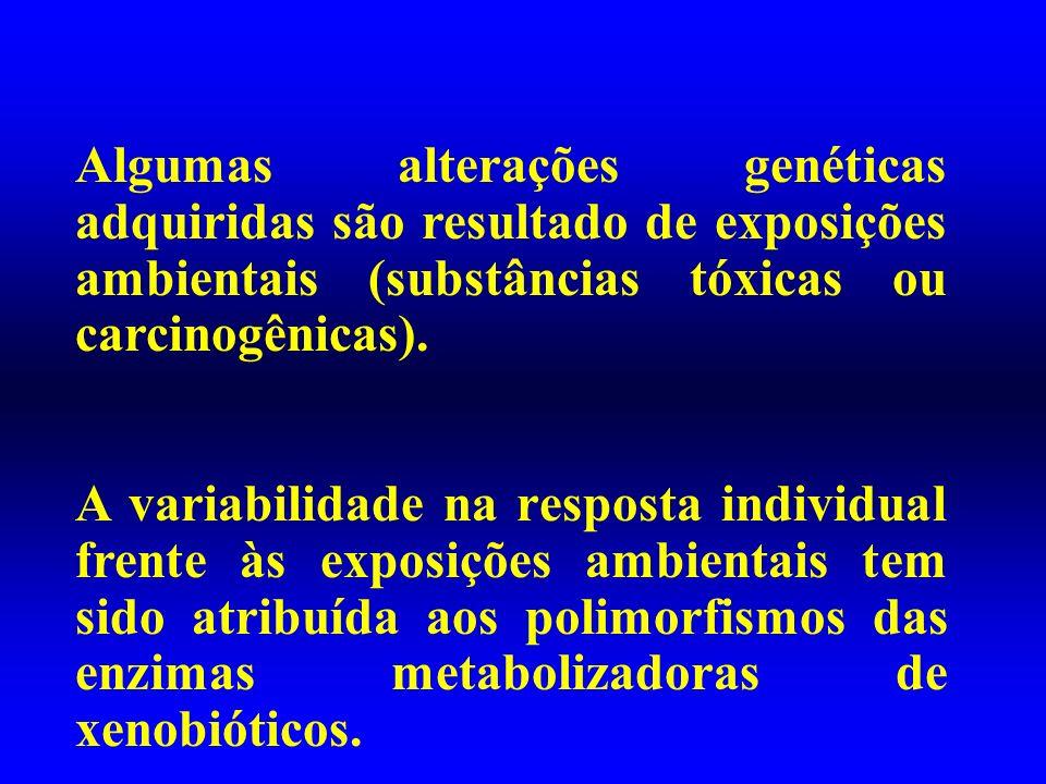 Algumas alterações genéticas adquiridas são resultado de exposições ambientais (substâncias tóxicas ou carcinogênicas).