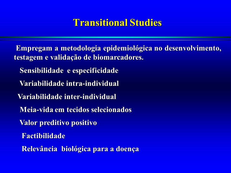 Transitional Studies Empregam a metodologia epidemiológica no desenvolvimento, testagem e validação de biomarcadores.