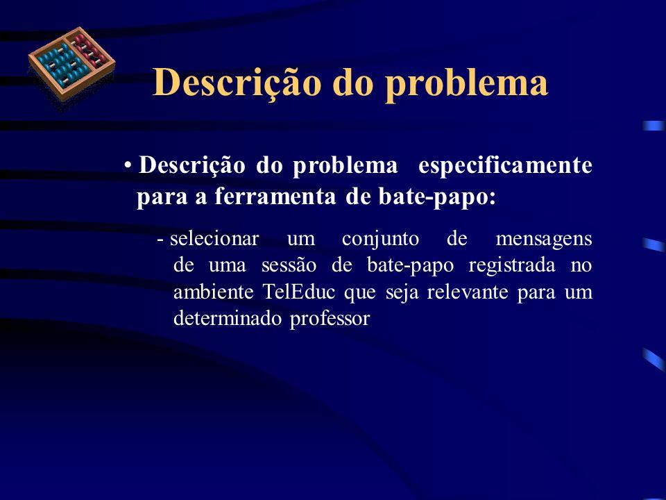 Descrição do problemaDescrição do problema especificamente para a ferramenta de bate-papo: