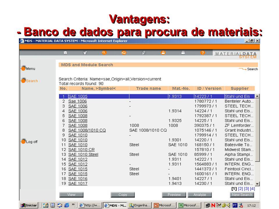- Banco de dados para procura de materiais: