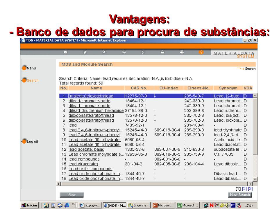 - Banco de dados para procura de substâncias: