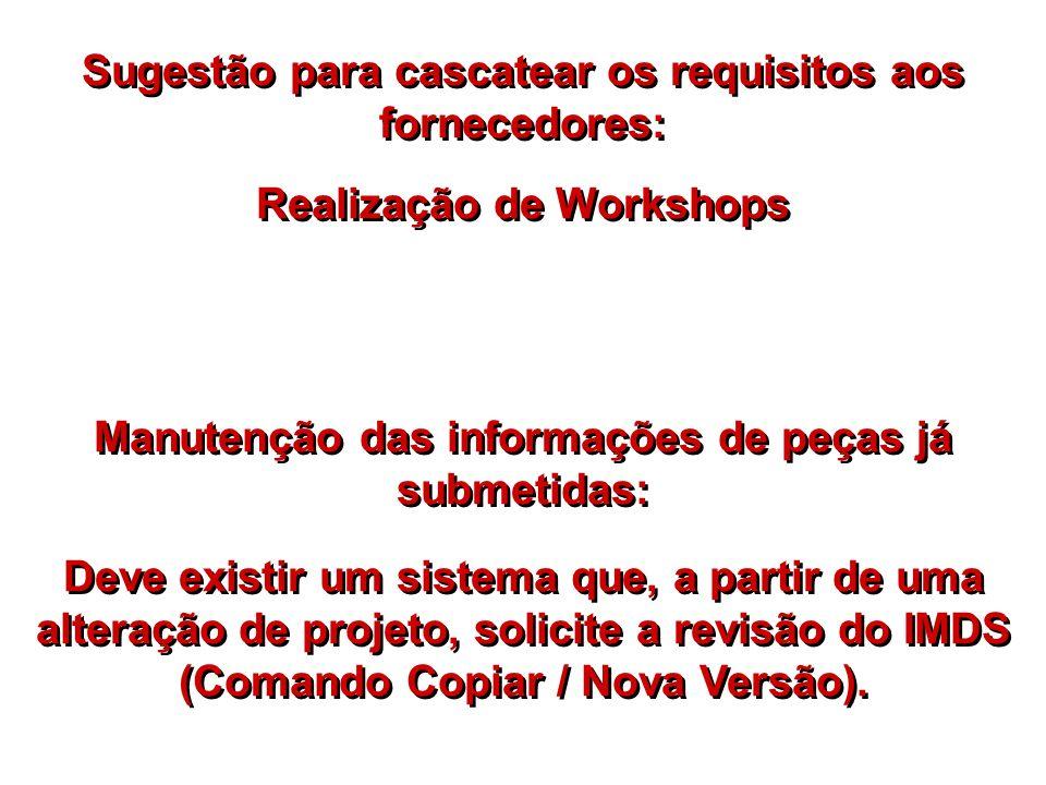 Sugestão para cascatear os requisitos aos fornecedores: