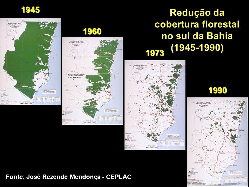 Redução da cobertura florestal no sul da Bahia (1945-1990)