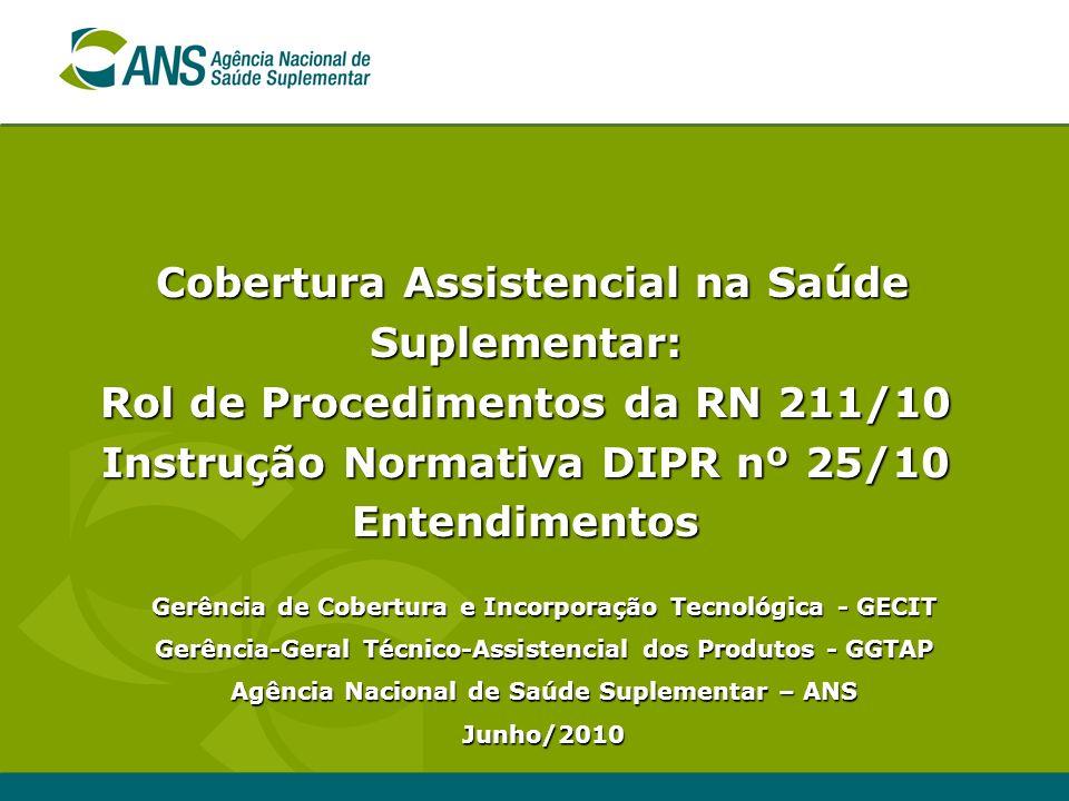 Cobertura Assistencial na Saúde Suplementar: Rol de Procedimentos da RN 211/10 Instrução Normativa DIPR nº 25/10 Entendimentos