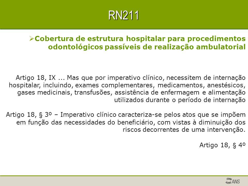 RN211 Cobertura de estrutura hospitalar para procedimentos odontológicos passíveis de realização ambulatorial.