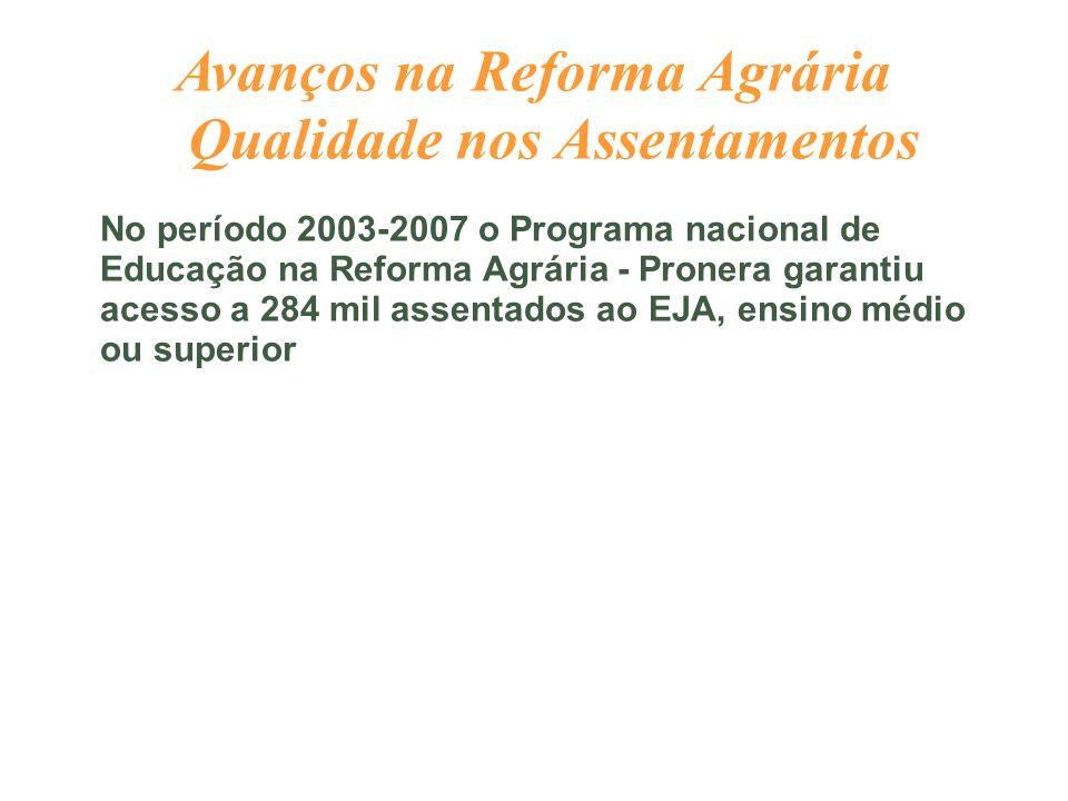 Avanços na Reforma Agrária Qualidade nos Assentamentos