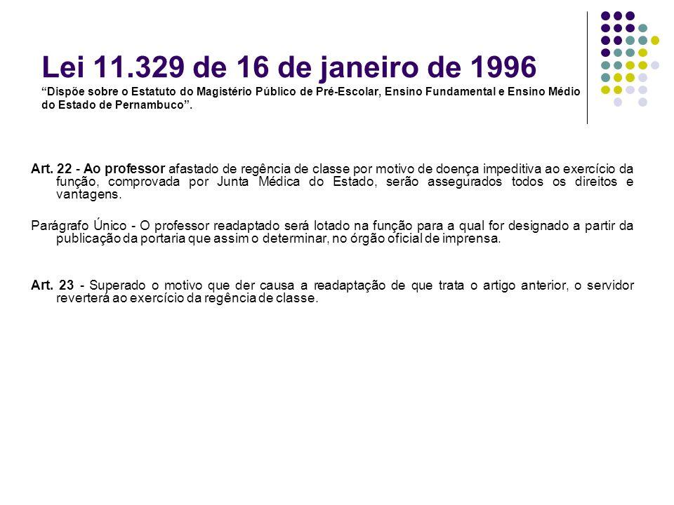 Lei 11.329 de 16 de janeiro de 1996 Dispõe sobre o Estatuto do Magistério Público de Pré-Escolar, Ensino Fundamental e Ensino Médio do Estado de Pernambuco .