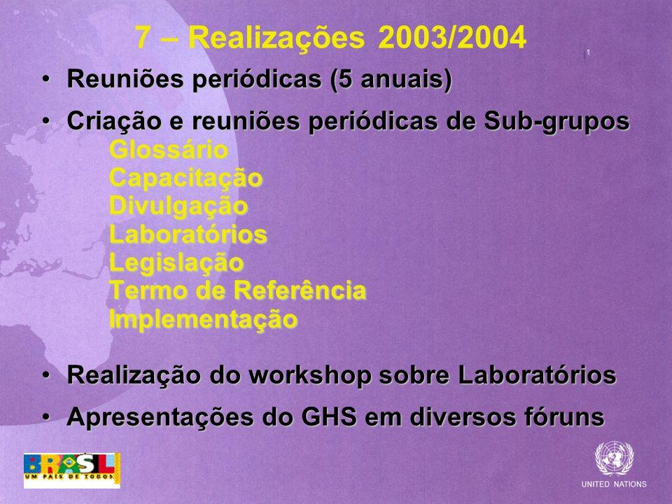 7 – Realizações 2003/2004 Reuniões periódicas (5 anuais)