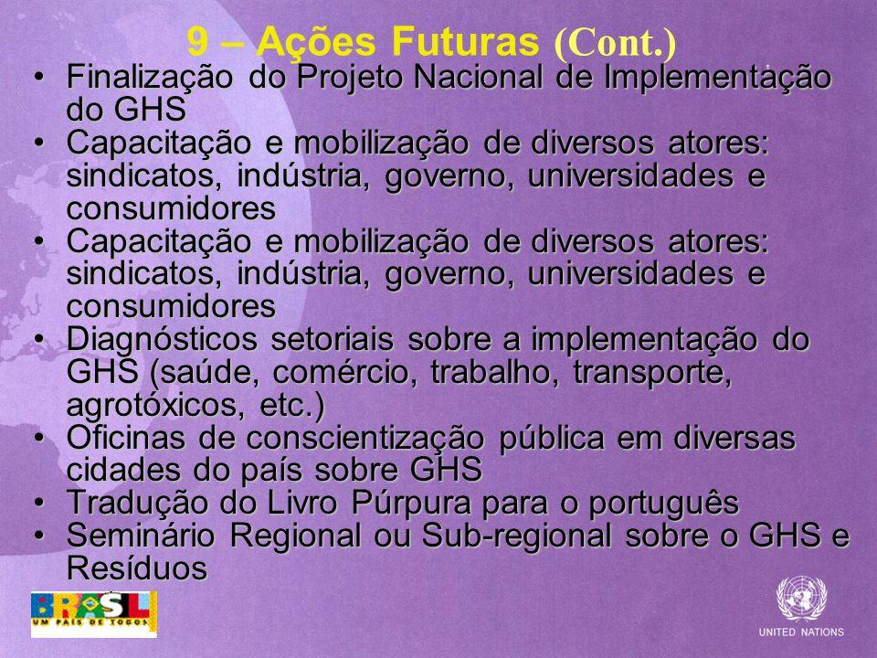9 – Ações Futuras (Cont.) Finalização do Projeto Nacional de Implementação do GHS.