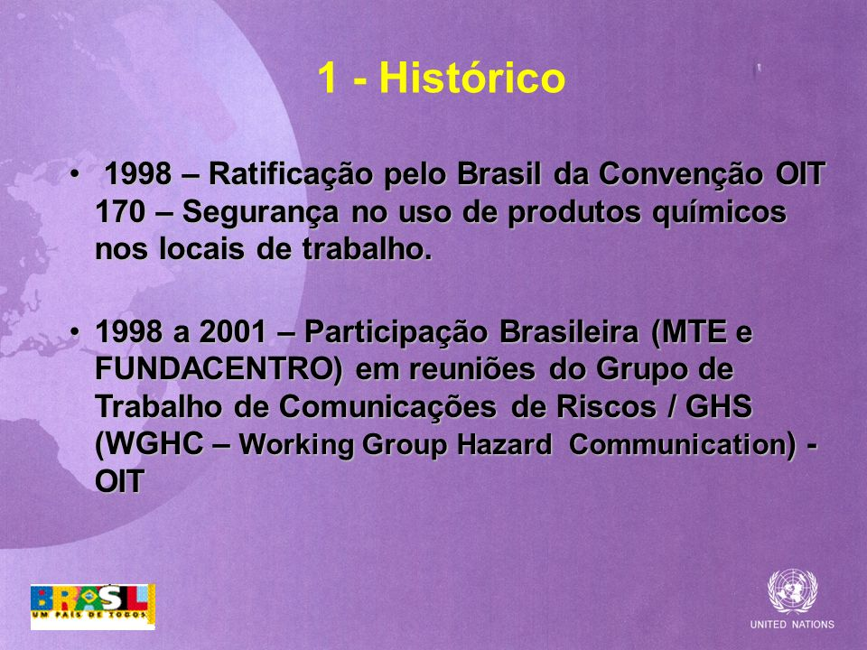 1 - Histórico1998 – Ratificação pelo Brasil da Convenção OIT 170 – Segurança no uso de produtos químicos nos locais de trabalho.