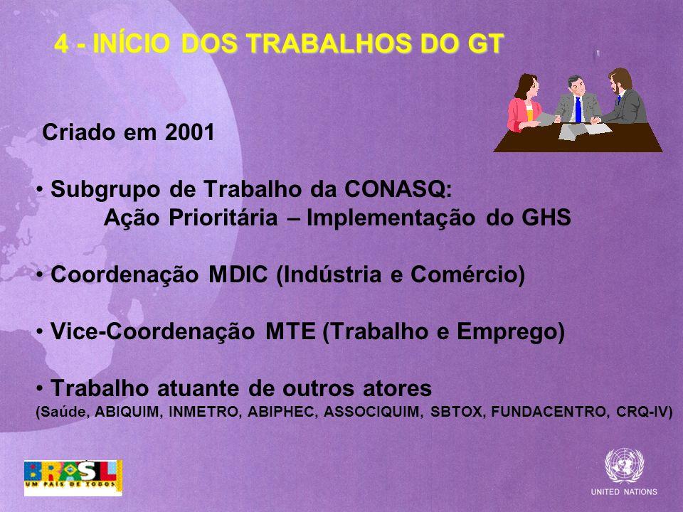 4 - INÍCIO DOS TRABALHOS DO GT