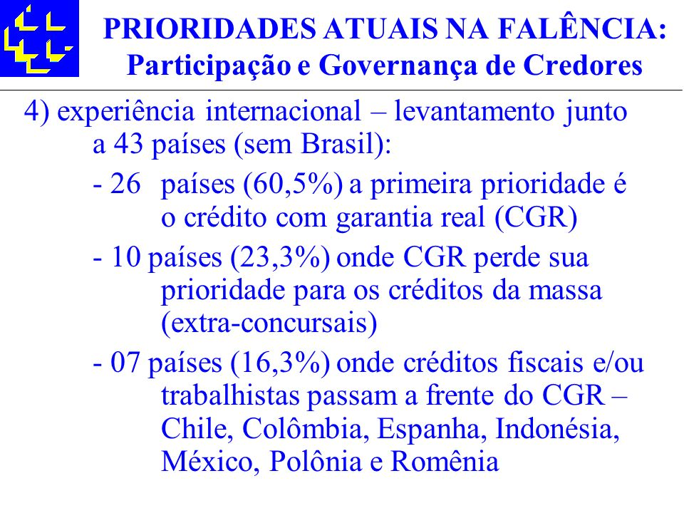 PRIORIDADES ATUAIS NA FALÊNCIA: Participação e Governança de Credores