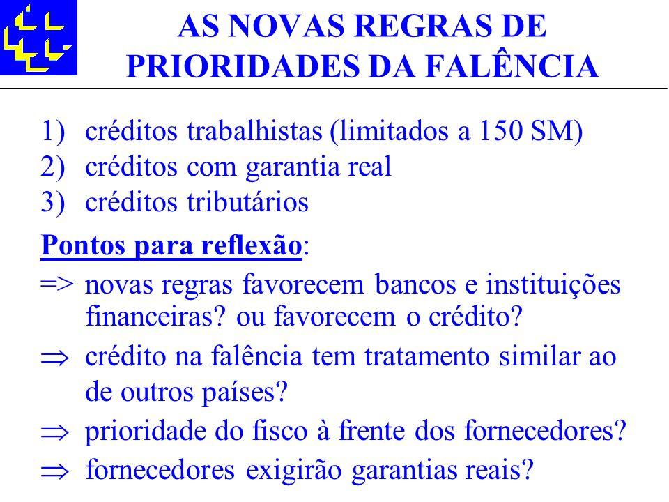 AS NOVAS REGRAS DE PRIORIDADES DA FALÊNCIA