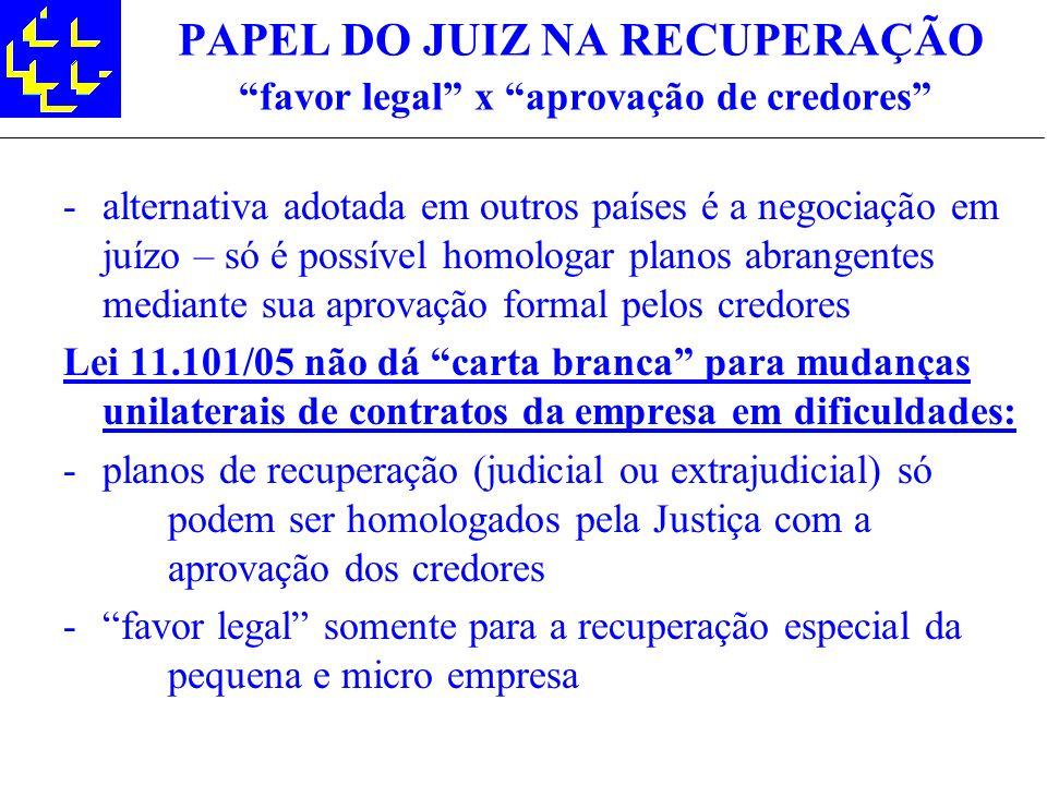 PAPEL DO JUIZ NA RECUPERAÇÃO favor legal x aprovação de credores