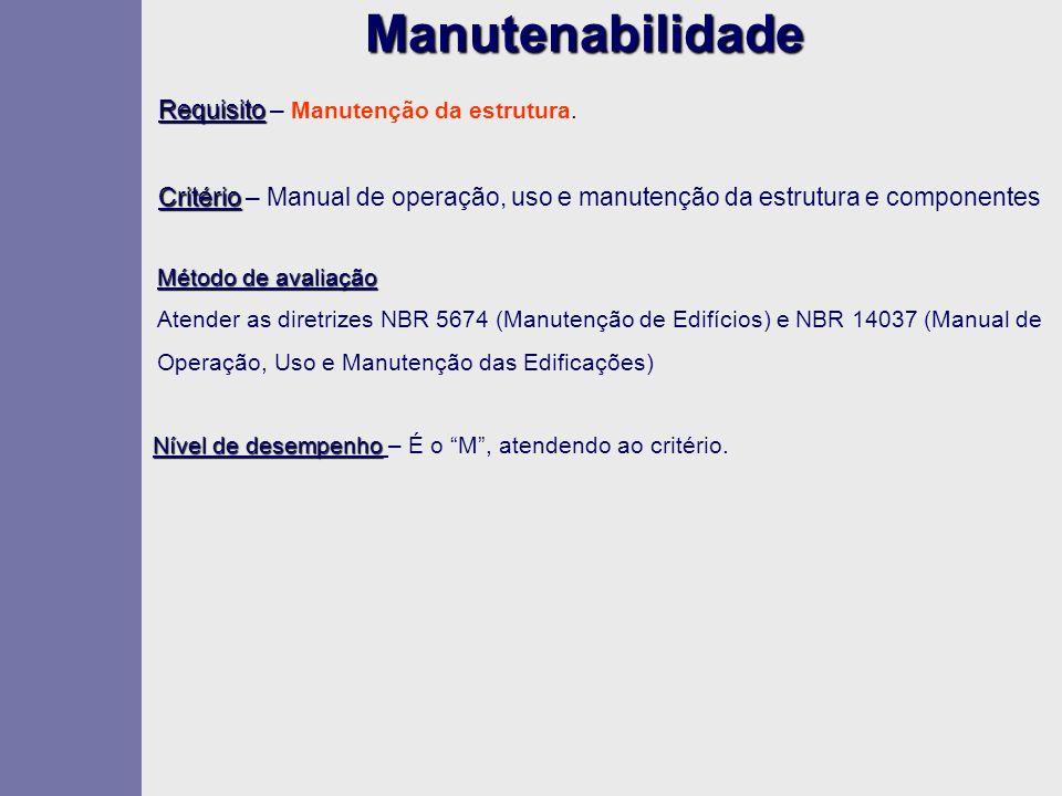Manutenabilidade Requisito – Manutenção da estrutura.