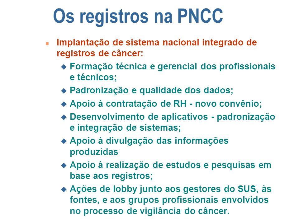 Os registros na PNCC Implantação de sistema nacional integrado de registros de câncer: Formação técnica e gerencial dos profissionais e técnicos;