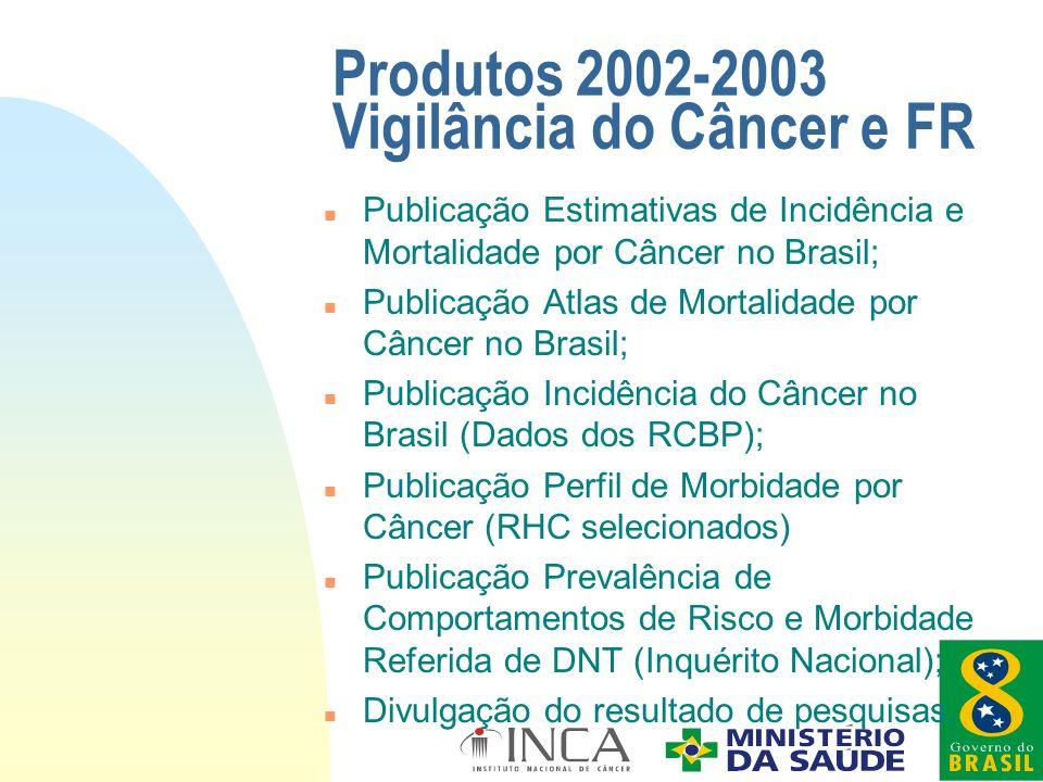 Produtos 2002-2003 Vigilância do Câncer e FR