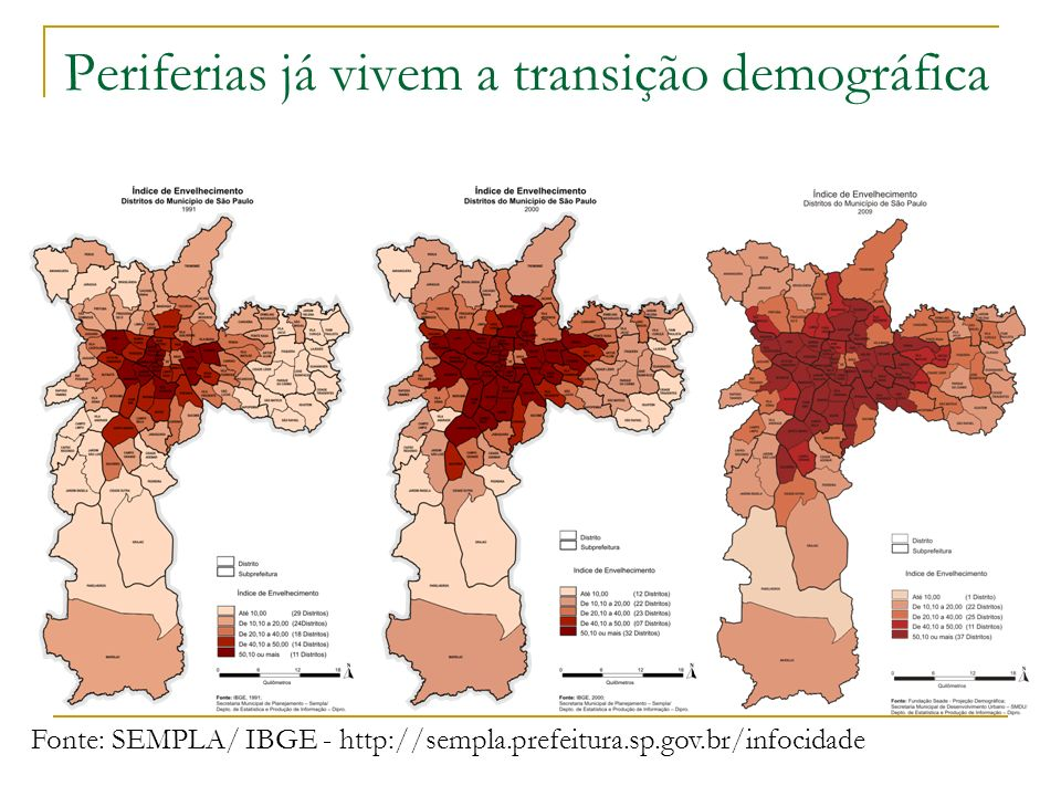 Periferias já vivem a transição demográfica
