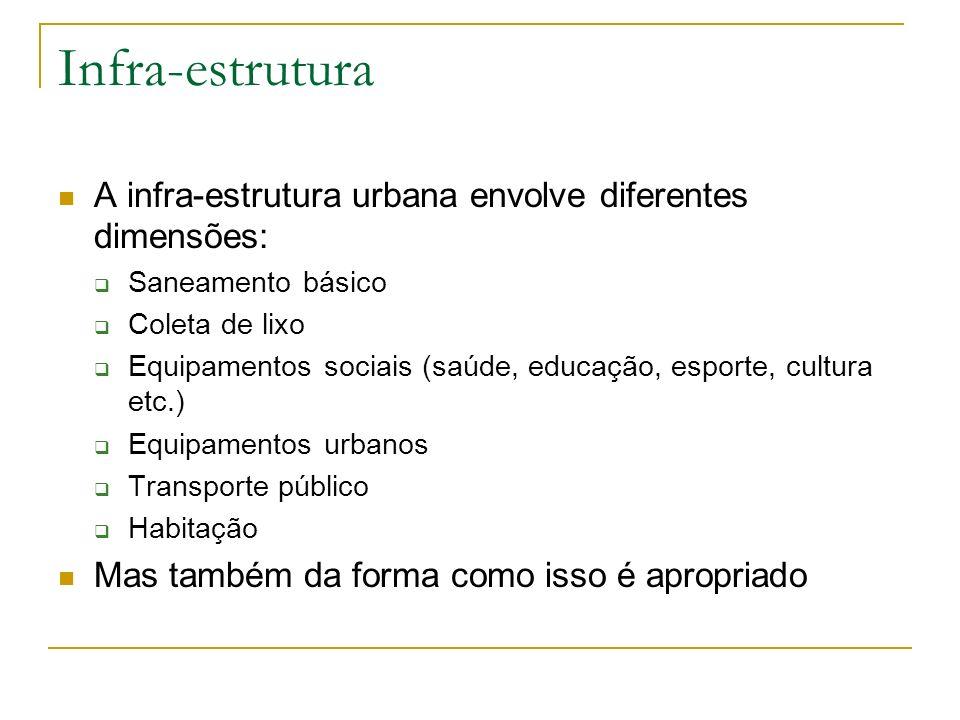 Infra-estrutura A infra-estrutura urbana envolve diferentes dimensões: