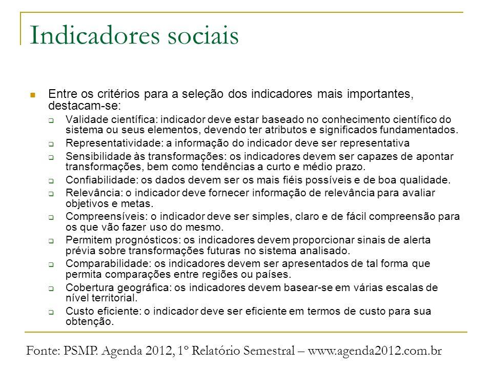 Indicadores sociais Entre os critérios para a seleção dos indicadores mais importantes, destacam-se:
