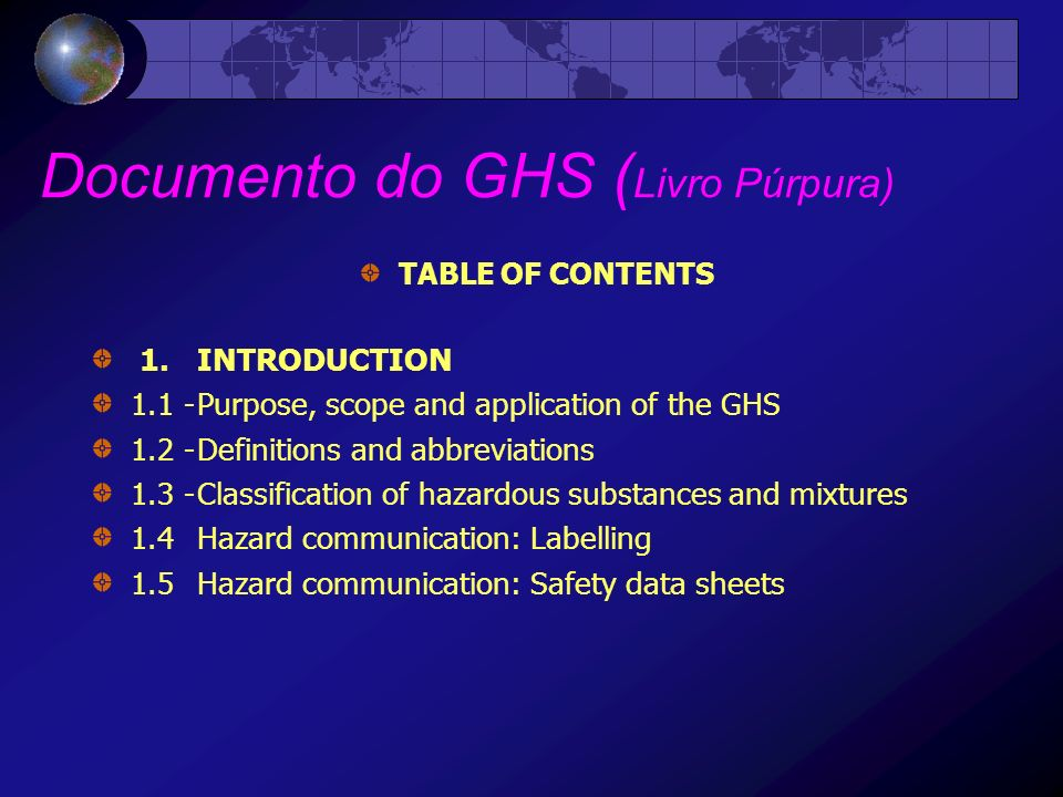 Documento do GHS (Livro Púrpura)