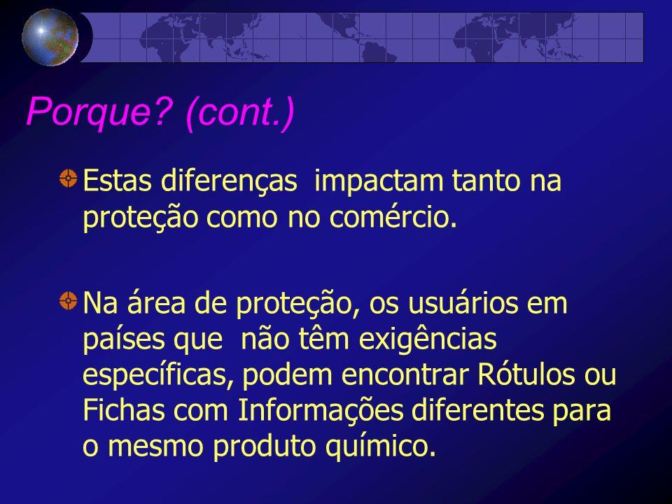 Porque (cont.) Estas diferenças impactam tanto na proteção como no comércio.